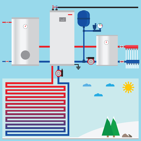 heat pump: Air source heat pump in the cottage.  Illustration