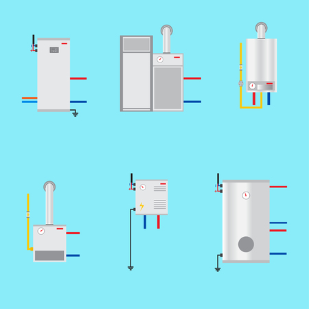 Different boilers icons set. Flat style. Electrical, gas, Pyrolysis boilers and heat pump. Efficient house concept.