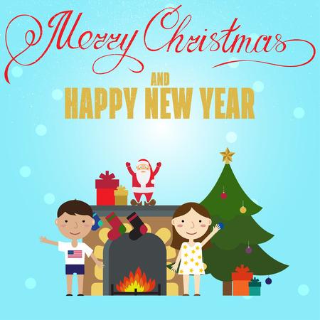 fireplace christmas: Christmas poster design with Children, Christmas Tree and fireplace. Christmas greeting card.