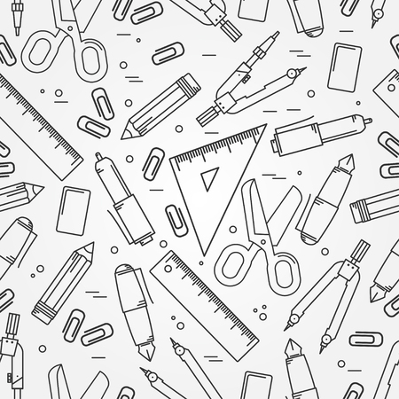 office supplies: Seamless School Office Supplies Pattern. Thin line  icon for web and mobile.