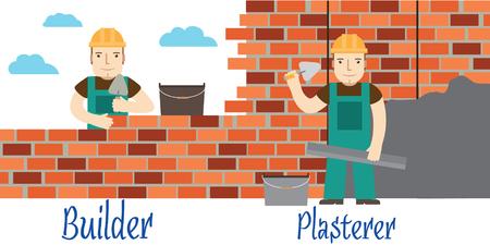 plasterer: Plasterer and masons at work.  Illustration