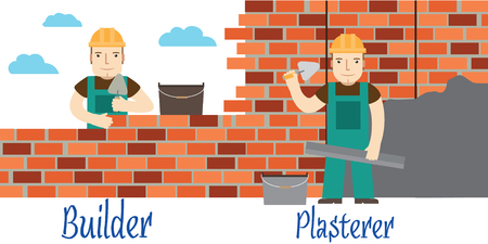 laying: Plasterer and masons at work.  Illustration