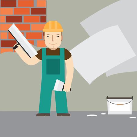 plasterer: Plasterer at work.
