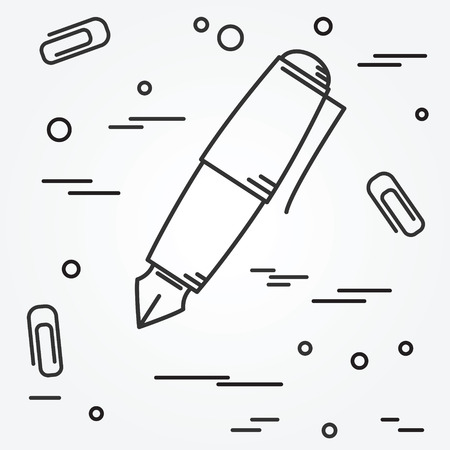 pen and paper: Fountain pen Icon. Fountain pen Icon Vector. Fountain pen Icon Drawing. Fountain pen Icon Image. Fountain penl Icon Graphic. Fountain pen Icon Art. Think line icon.