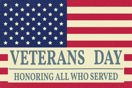 Veterans day.Veterans day Vector. Veterans day Drawing. Veterans day Image. Veterans day Graphic. Veterans day Art. Honoring all who served. American Flag.  Veterans day in vintage style. Stock Illustratie