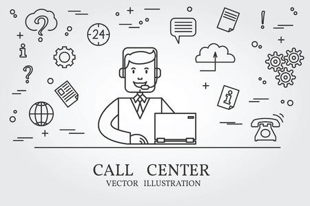 콜 센터 얇은 라인 디자인. 센터 펜 아이콘을 호출합니다. 콜 센터 펜 아이콘 벡터.
