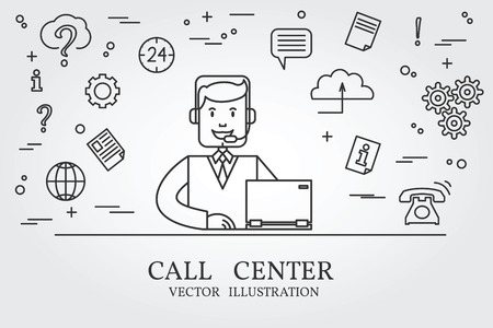 work environment: Call center thin line design. Call center pen Icon. Call center pen Icon Vector.