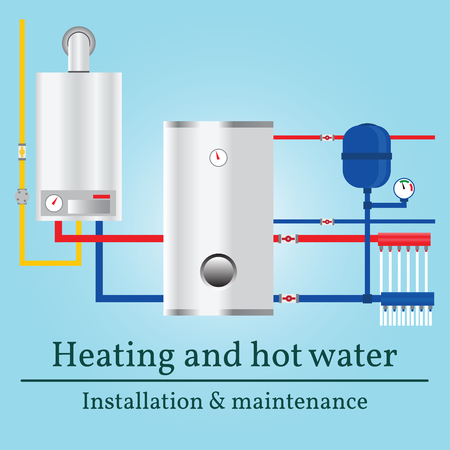 gas boiler: Gas boiler banner. Illustration