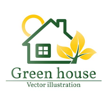 house logo: Green house logo. Eco house.  Illustration