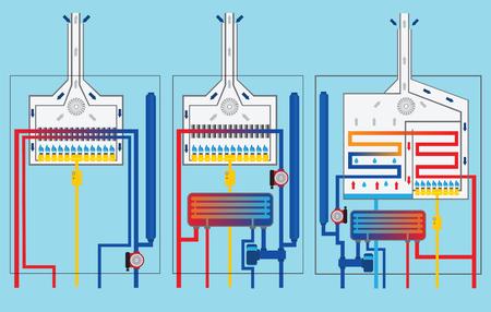 Gas boilers set. Condensing boiler. Stock Vector - 48805846