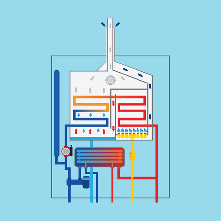 Condensing gas boiler.  イラスト・ベクター素材