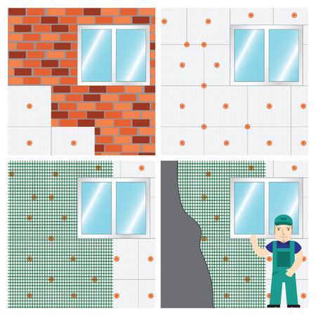 壁を絶縁する方法。設定します。  イラスト・ベクター素材