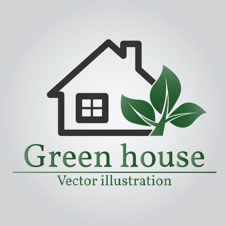 rural development: Green house logo. Eco house.  Illustration