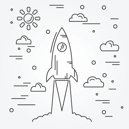 Avviare. Rocket icona linea sottile. Archivio Fotografico - 48806540