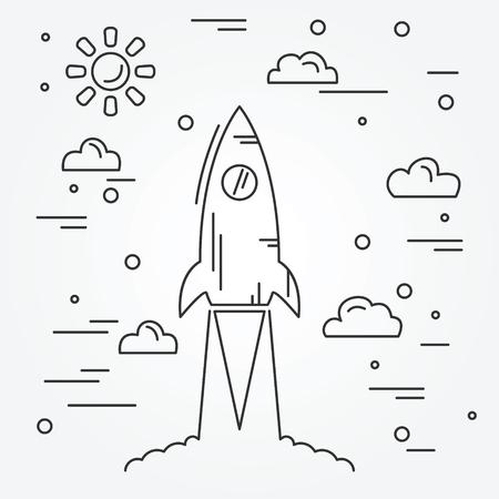 dessin noir et blanc: Commencez. Rocket ic�ne de la ligne mince.