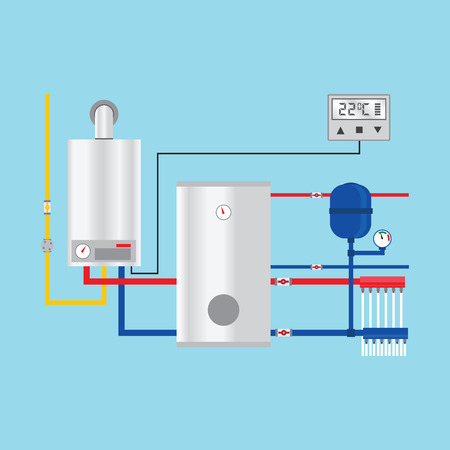 Energy efficient heating system with thermostat.  Vectores
