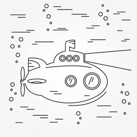 periscope: Submarine thin line icon.