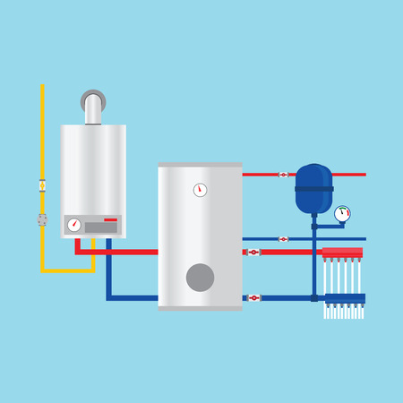 condensing: Gas boiler in the cottage.  Gas boiler in the cottage drawing. Gas boiler in the cottage image. Gas boiler in the cottage graphic. Gas boiler in the cottage art.