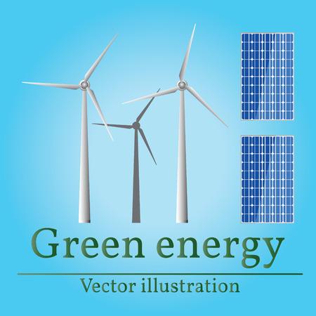 Eco energie. Groene energie. Windenergie. Zonne energie. Eco energie tekening. Eco energie grafisch. Eco energy art.