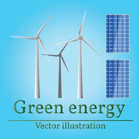 Eco energy. Green energy. Wind energy. Solar energy.  Eco energy drawing. Eco energy graphic. Eco energy art. Reklamní fotografie - 48820547