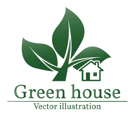 rural development: Green house logo. Eco house. Green house. Green house art. Green house Graphic. Green house JPG. Green house JPEG.  Illustration