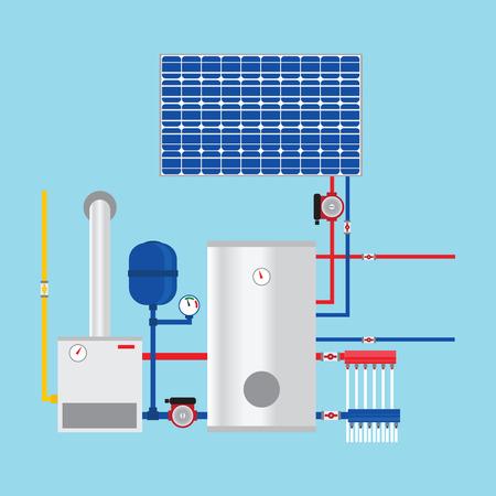 paneles solares: Caldera de gas y paneles solares. Eco-casa. Vector.
