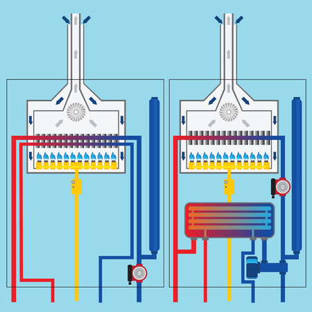 thermodynamic: Gas boilers with heat exchanger. Illustration