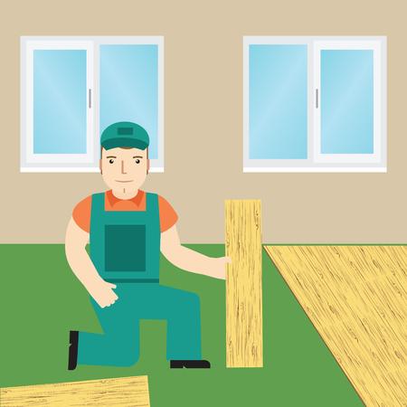 flooring: Worker laying laminate.  Illustration