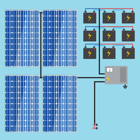 design drawing: Solar panel with battery. Green energy vector concept.