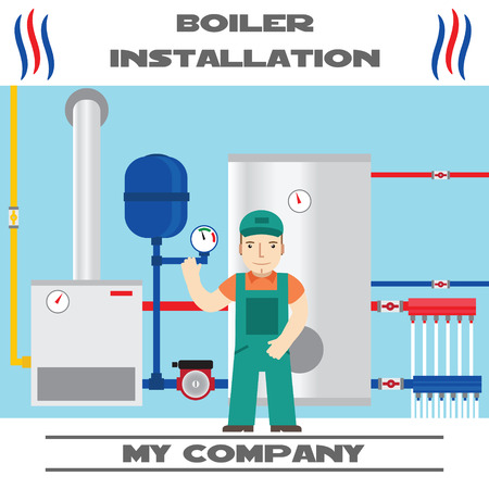 install: Boiler installation banner. Business card.