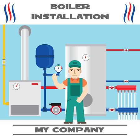 installation: Boiler installation banner. Business card.