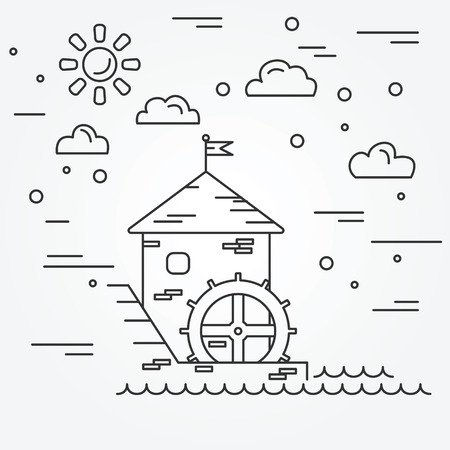 watermill: Water mill. Illustration