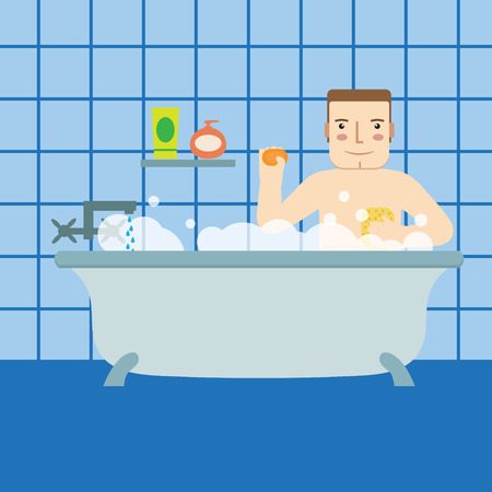 showering: A man in the bath.