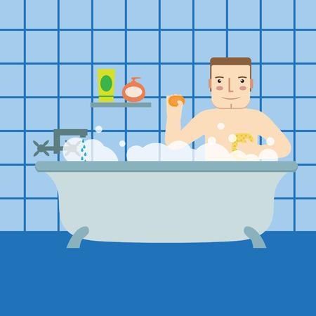 personas tomando agua: Un hombre en el baño. Vectores