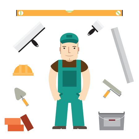 supportive: Builder and buildaing tools.  Illustration