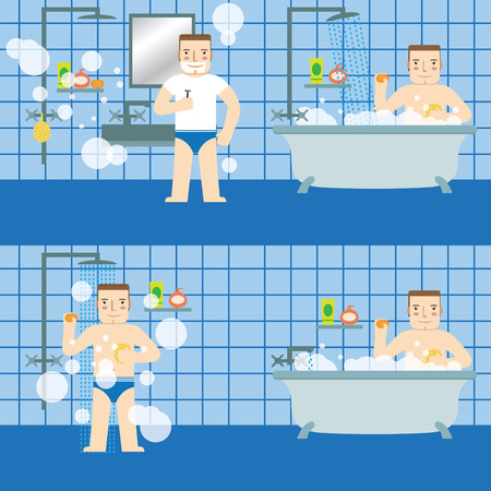 The man in the bathroom. Set. 版權商用圖片 - 48820628