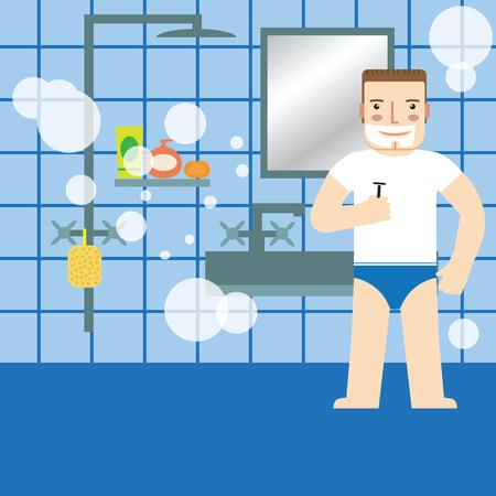 personal grooming: Man shaving in the bathroom.