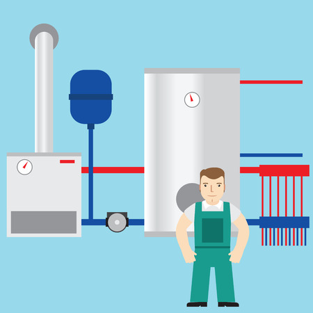 boiler room: Plumber and boiler room in the background.