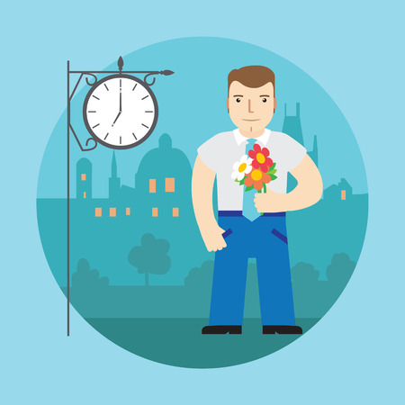 date night: Man with flowers waiting for a date, on a street behind the clock and night city.