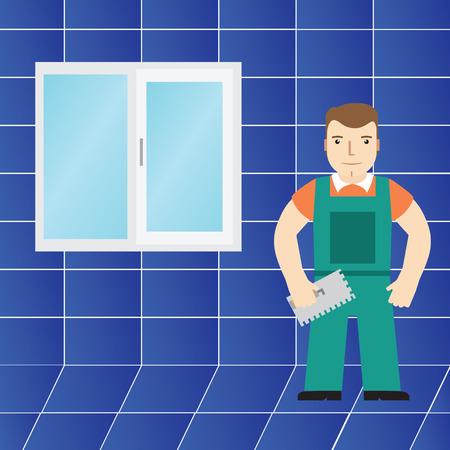 bathroom tiles: Tiles and tiler in the bathroom.