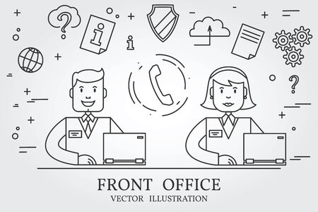 front office: Front office. Think line icon. Vector. Stock Photo