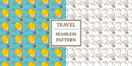 saemless: Air balloon seamless pattern. Thin line icon. Vector.