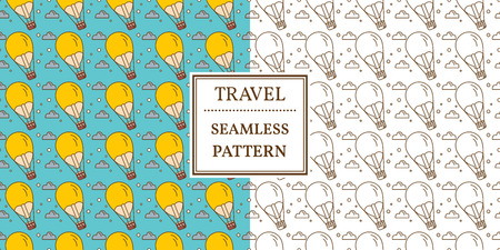 Air balloon seamless pattern. Thin line icon. Vector.