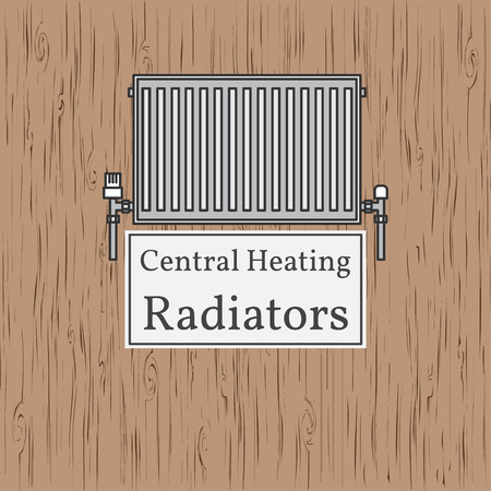 gas pipeline: Central Heating Radiators badge. Vector. Radiator.