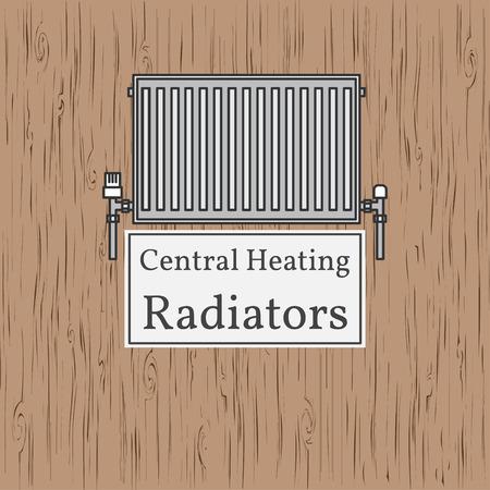 radiator: Central Heating Radiators badge. Vector. Radiator.