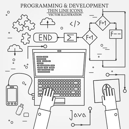 programming code: Thin line design of cloud computing technology, wireless communication, website programming code, hosting service for developers. For web and mobile.