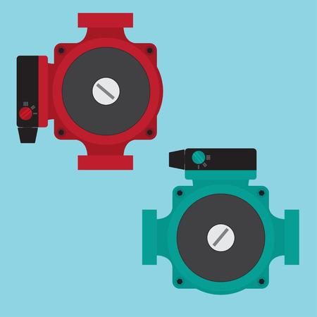 pump: Heating Circulating Pump. Vector illustration. Flat icons.