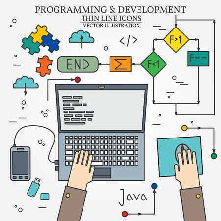 Thin line design of cloud computing technology, wireless communication, website programming code, hosting service for developers. For web and mobile.