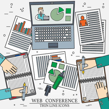 webcast: Wibinar, web conference concept icon thin line for web and mobile, modern minimalistic flat design. Vector dark grey icon on light grey background. Illustration