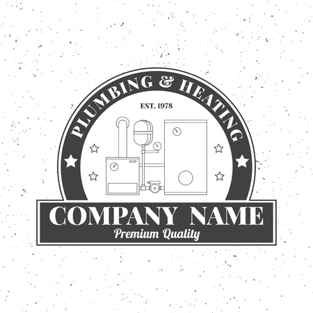 Vintage Plumbing, Heating Services logo, labels and badges. Stylish Monochrome design.For your company. Corporate identity concept, business sign template.
